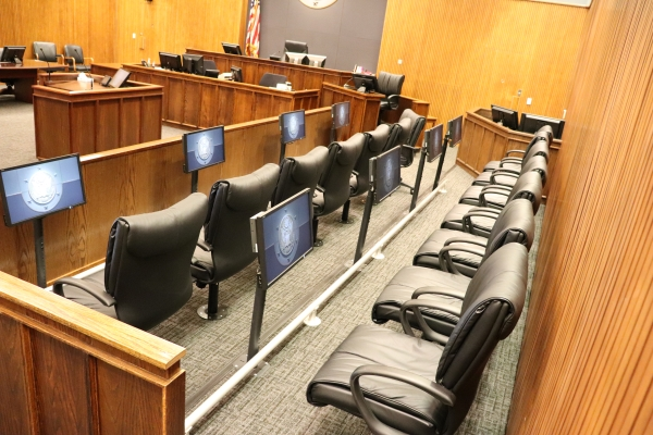 Jury box with monitors